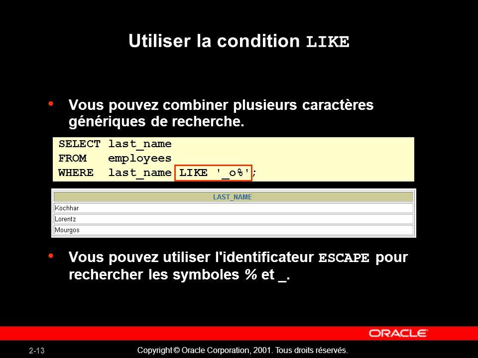 2-13 Copyright © Oracle Corporation, 2001. Tous droits réservés. Vous pouvez combiner plusieurs caractères génériques de recherche. Vous pouvez utilis