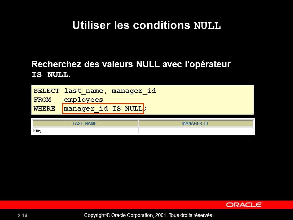 2-14 Copyright © Oracle Corporation, 2001. Tous droits réservés. Utiliser les conditions NULL Recherchez des valeurs NULL avec l'opérateur IS NULL. SE