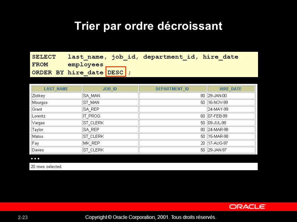 2-23 Copyright © Oracle Corporation, 2001. Tous droits réservés. Trier par ordre décroissant SELECT last_name, job_id, department_id, hire_date FROM e