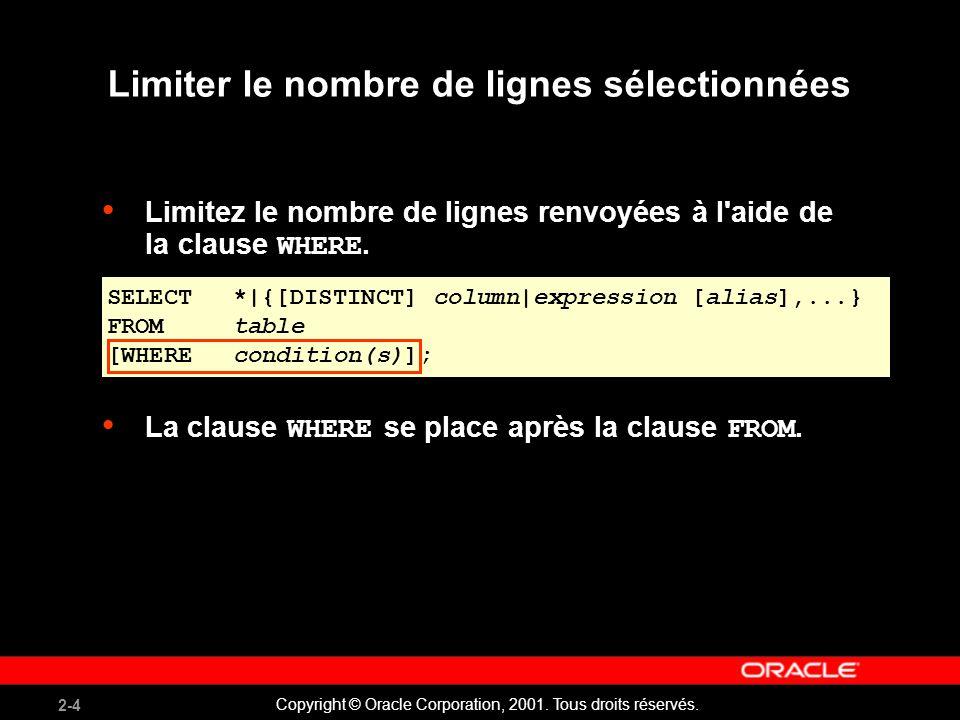 2-4 Copyright © Oracle Corporation, 2001. Tous droits réservés. Limiter le nombre de lignes sélectionnées Limitez le nombre de lignes renvoyées à l'ai