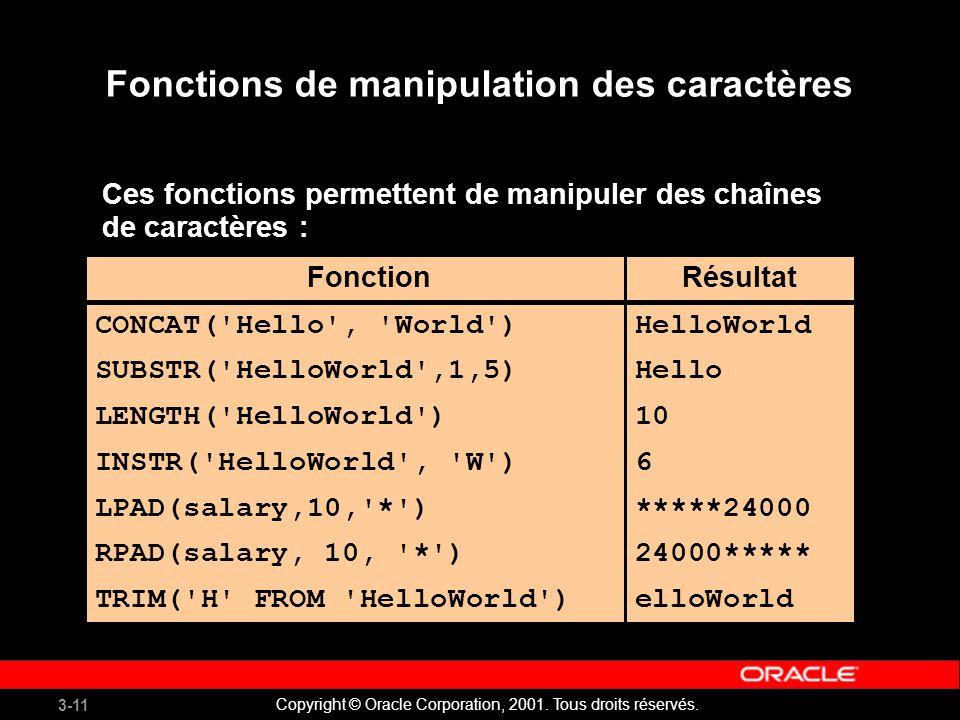 3-11 Copyright © Oracle Corporation, 2001.Tous droits réservés.