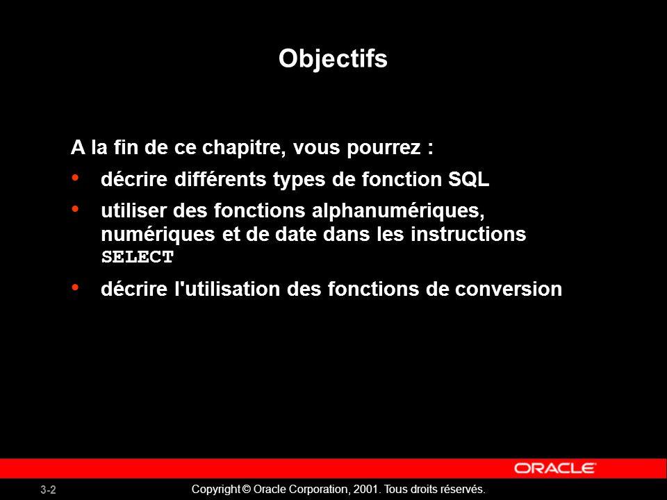 3-33 Copyright © Oracle Corporation, 2001. Tous droits réservés.