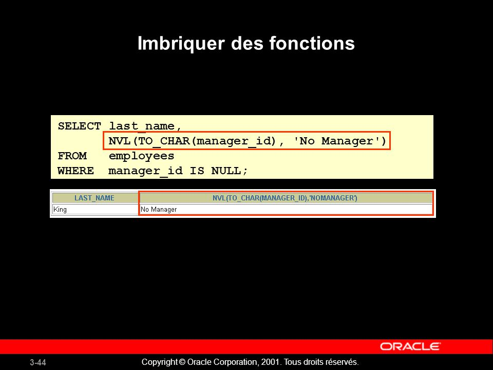 3-44 Copyright © Oracle Corporation, 2001. Tous droits réservés. SELECT last_name, NVL(TO_CHAR(manager_id), 'No Manager') FROM employees WHERE manager