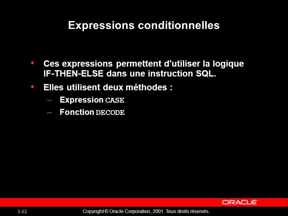 3-52 Copyright © Oracle Corporation, 2001.Tous droits réservés.