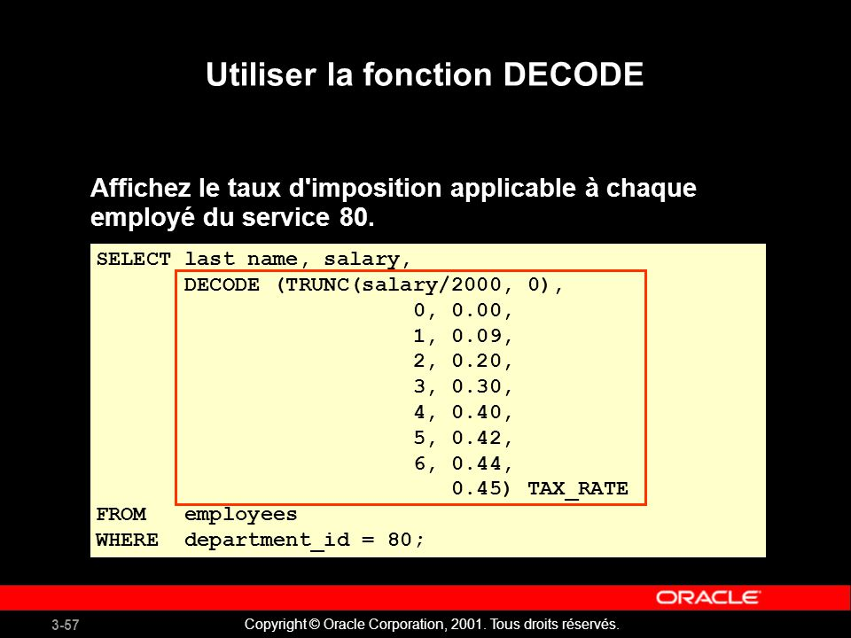 3-57 Copyright © Oracle Corporation, 2001. Tous droits réservés. Utiliser la fonction DECODE SELECT last_name, salary, DECODE (TRUNC(salary/2000, 0),