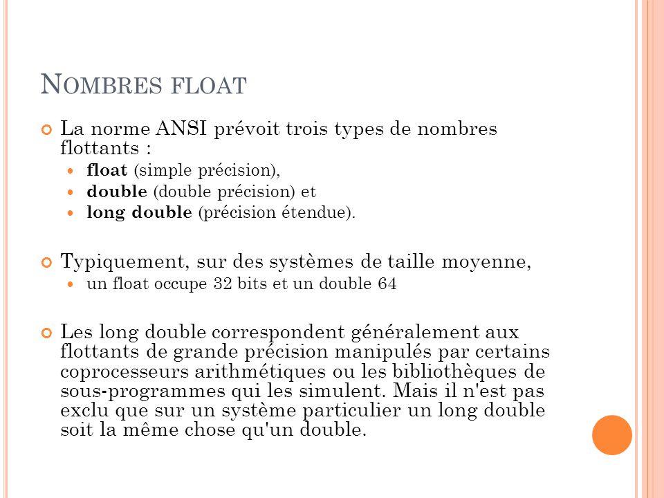 N OMBRES FLOAT La norme ANSI prévoit trois types de nombres flottants : float (simple précision), double (double précision) et long double (précision étendue).