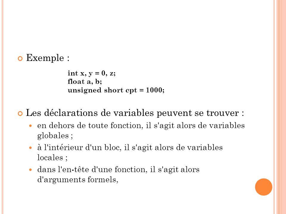 Exemple : Les déclarations de variables peuvent se trouver : en dehors de toute fonction, il s agit alors de variables globales ; à l intérieur d un bloc, il s agit alors de variables locales ; dans l en-tête d une fonction, il s agit alors d arguments formels, int x, y = 0, z; float a, b; unsigned short cpt = 1000;