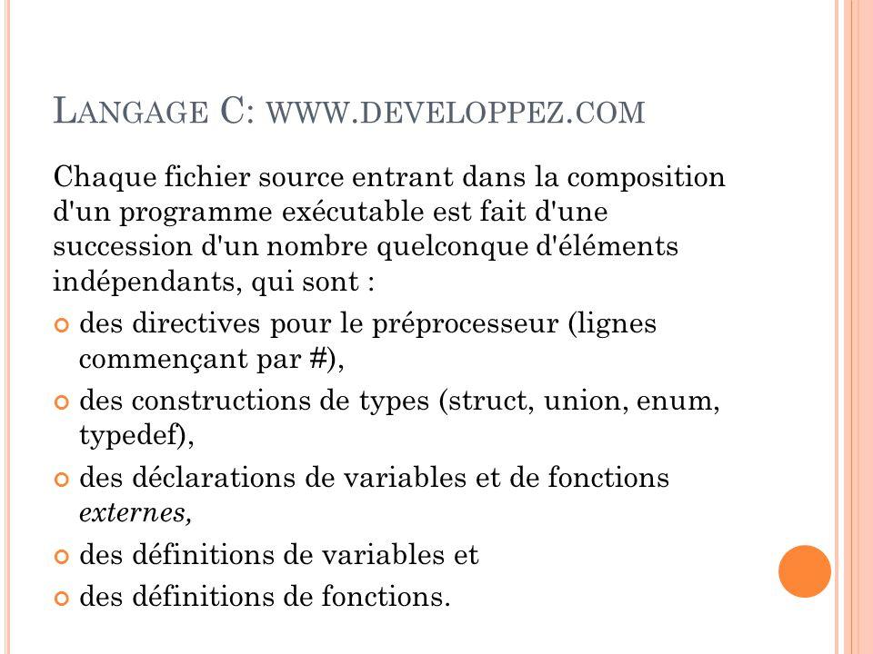 L ANGAGE C: WWW.DEVELOPPEZ.