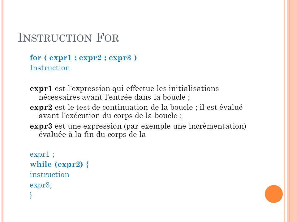 I NSTRUCTION F OR for ( expr1 ; expr2 ; expr3 ) Instruction expr1 est l expression qui effectue les initialisations nécessaires avant l entrée dans la boucle ; expr2 est le test de continuation de la boucle ; il est évalué avant l exécution du corps de la boucle ; expr3 est une expression (par exemple une incrémentation) évaluée à la fin du corps de la expr1 ; while (expr2) { instruction expr3; }