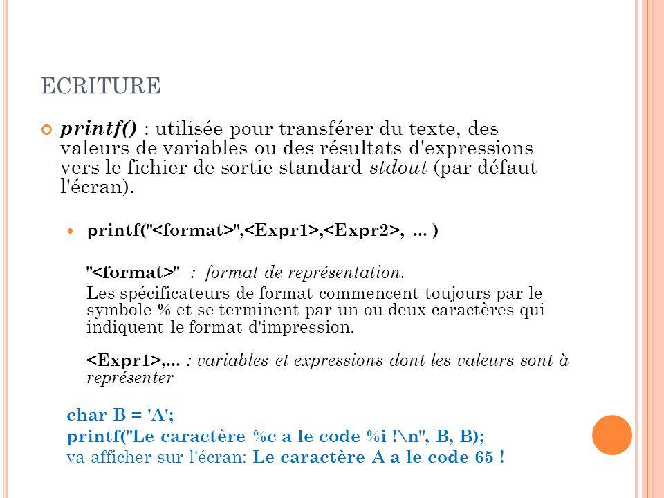 ECRITURE printf() : utilisée pour transférer du texte, des valeurs de variables ou des résultats d expressions vers le fichier de sortie standard stdout (par défaut l écran).