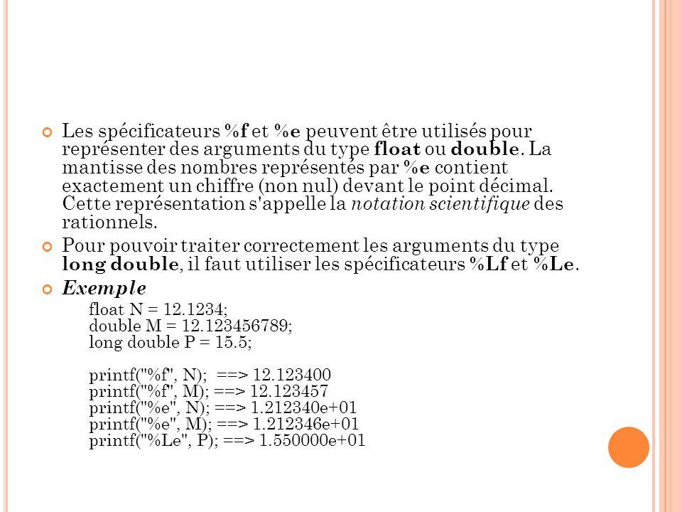 Les spécificateurs %f et %e peuvent être utilisés pour représenter des arguments du type float ou double.