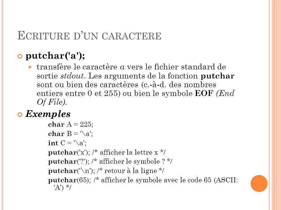 E CRITURE D ' UN CARACTERE putchar( a ); transfère le caractère a vers le fichier standard de sortie stdout.