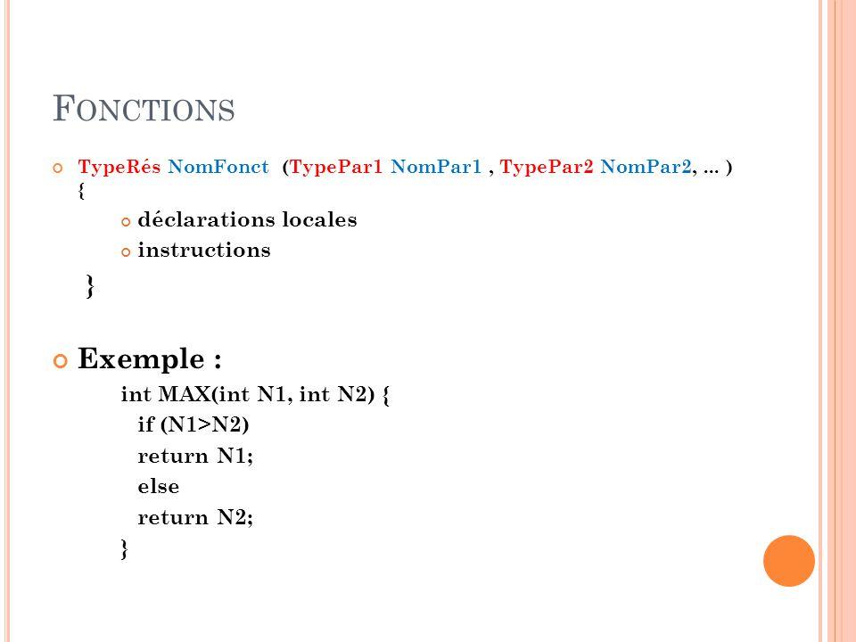 F ONCTIONS TypeRés NomFonct (TypePar1 NomPar1, TypePar2 NomPar2,...