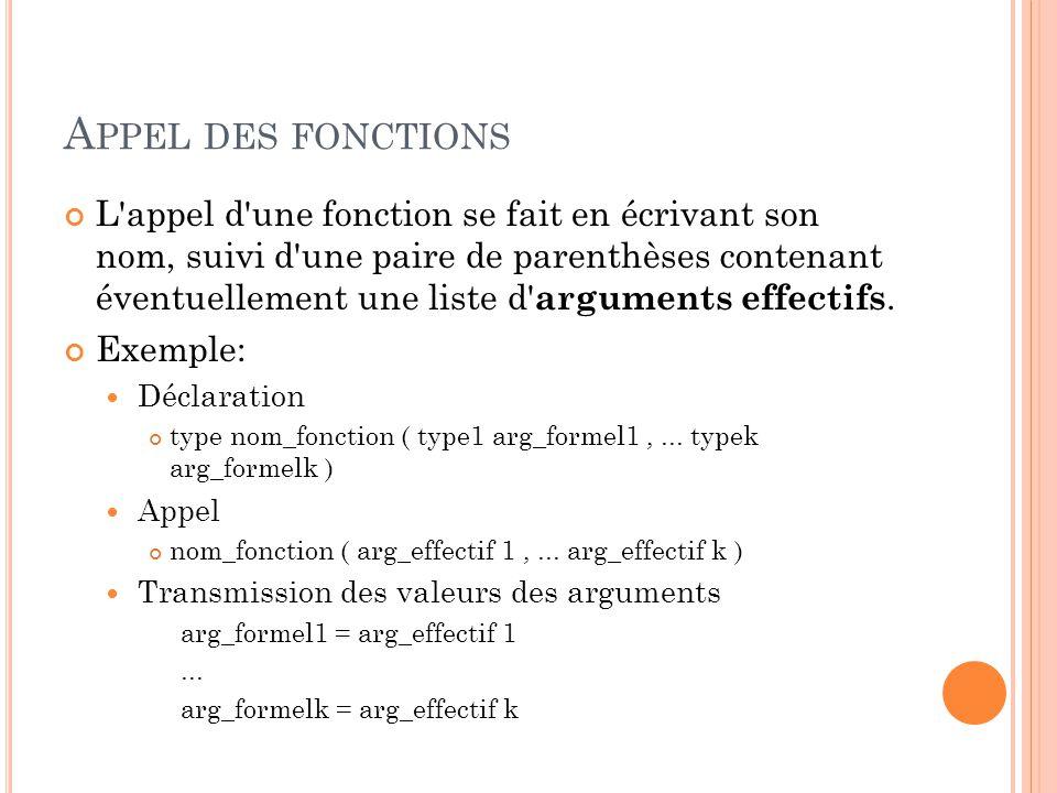 A PPEL DES FONCTIONS L appel d une fonction se fait en écrivant son nom, suivi d une paire de parenthèses contenant éventuellement une liste d arguments effectifs.