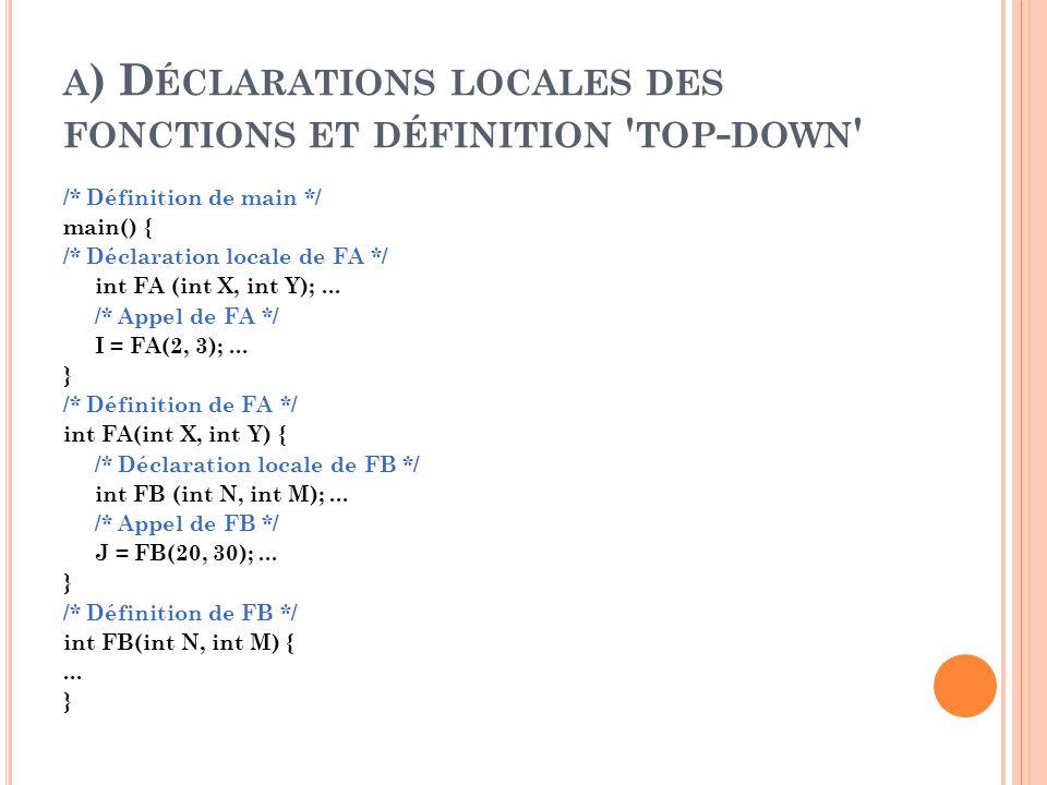 A ) D ÉCLARATIONS LOCALES DES FONCTIONS ET DÉFINITION TOP - DOWN /* Définition de main */ main() { /* Déclaration locale de FA */ int FA (int X, int Y);...
