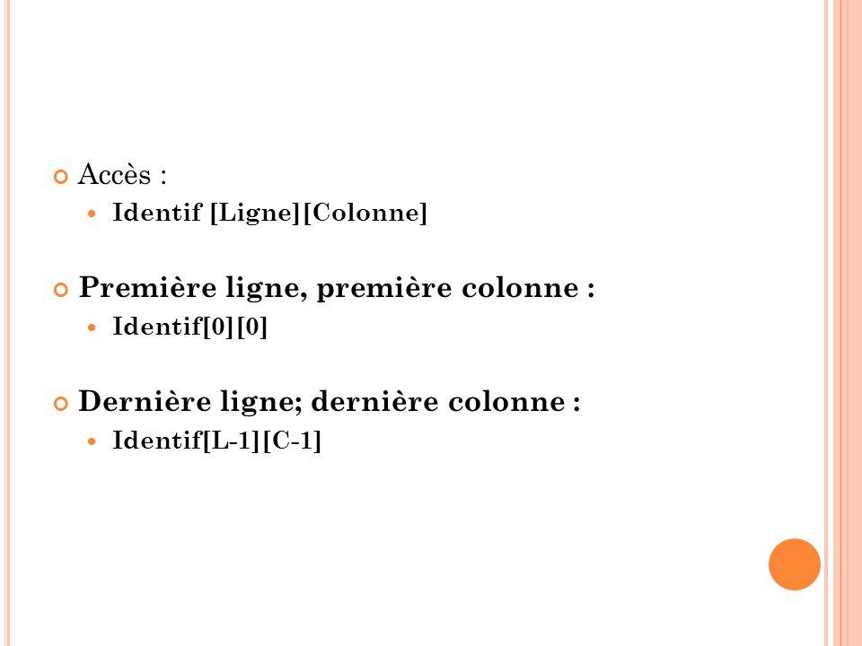 Accès : Identif [Ligne][Colonne] Première ligne, première colonne : Identif[0][0] Dernière ligne; dernière colonne : Identif[L-1][C-1]