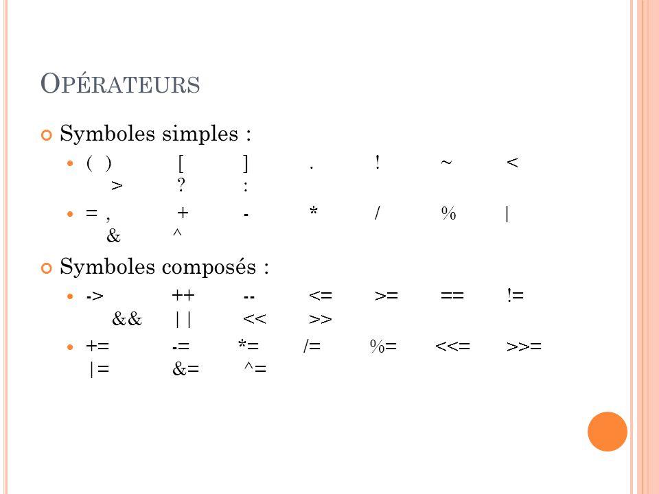 O PÉRATEURS Symboles simples : ( ) [ ].~ .
