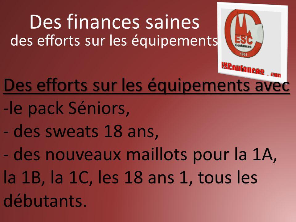Des efforts sur les équipements avec -le pack Séniors, - des sweats 18 ans, - des nouveaux maillots pour la 1A, la 1B, la 1C, les 18 ans 1, tous les débutants.