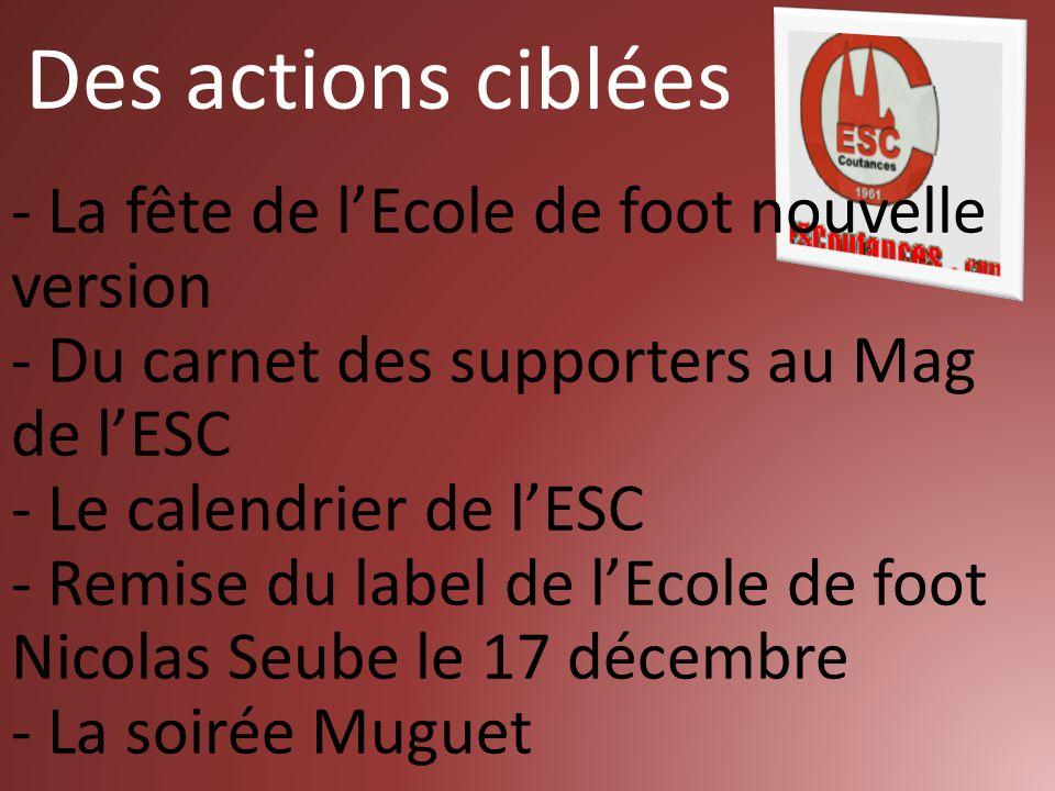 - La fête de l'Ecole de foot nouvelle version - Du carnet des supporters au Mag de l'ESC - Le calendrier de l'ESC - Remise du label de l'Ecole de foot
