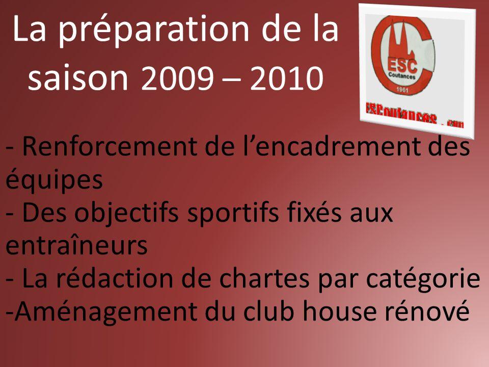 - Renforcement de l'encadrement des équipes - Des objectifs sportifs fixés aux entraîneurs - La rédaction de chartes par catégorie -Aménagement du club house rénové