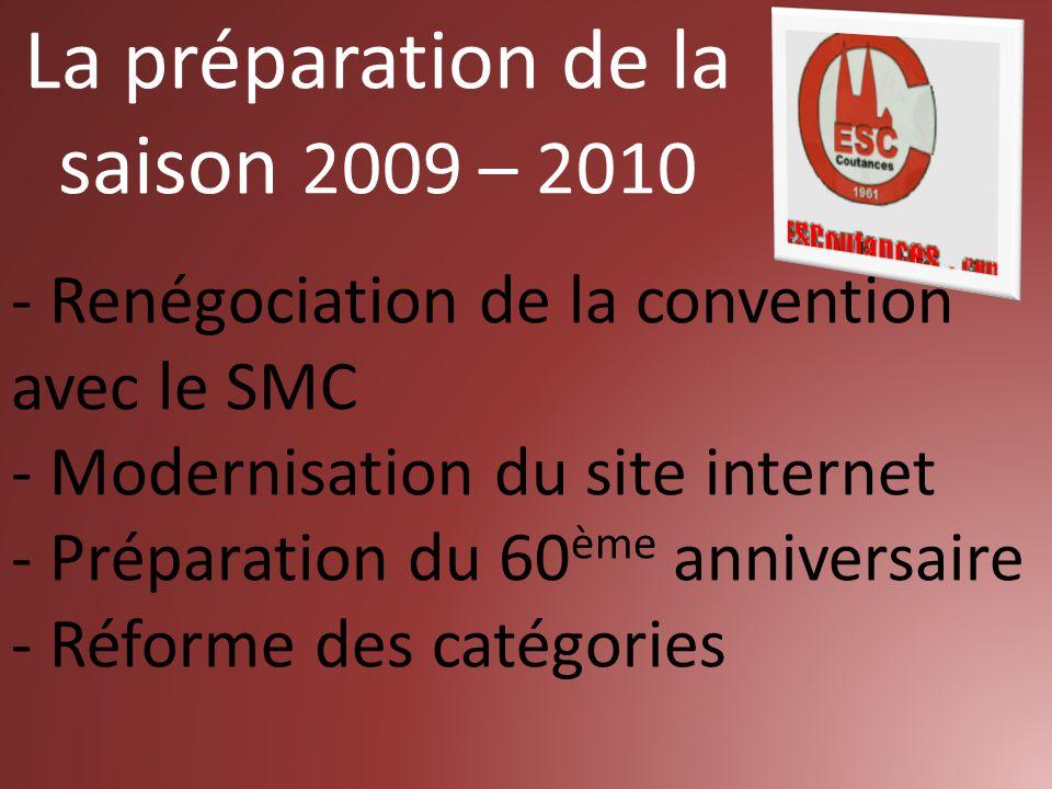 La préparation de la saison 2009 – 2010 - Renégociation de la convention avec le SMC - Modernisation du site internet - Préparation du 60 ème anniversaire - Réforme des catégories