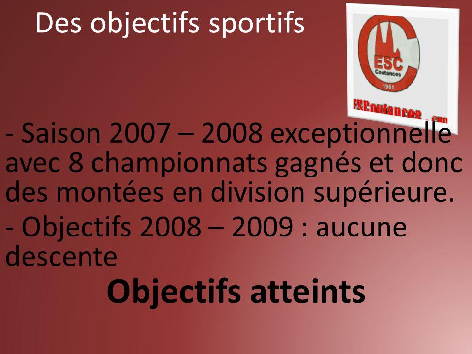 - Saison 2007 – 2008 exceptionnelle avec 8 championnats gagnés et donc des montées en division supérieure. - Objectifs 2008 – 2009 : aucune descente O