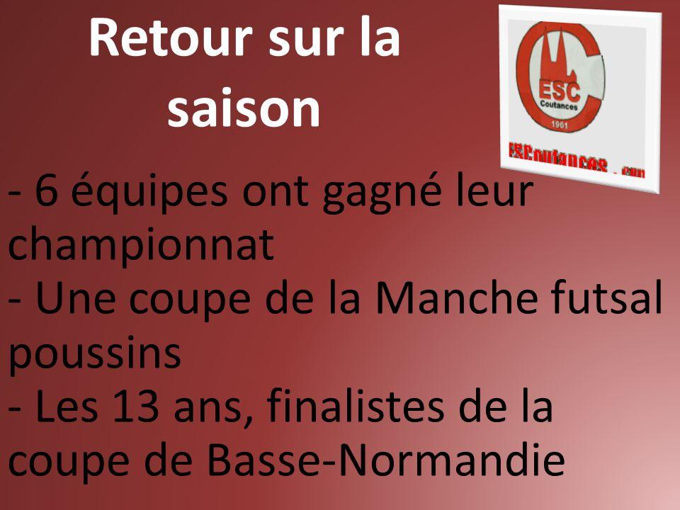 Retour sur la saison - 6 équipes ont gagné leur championnat - Une coupe de la Manche futsal poussins - Les 13 ans, finalistes de la coupe de Basse-Nor