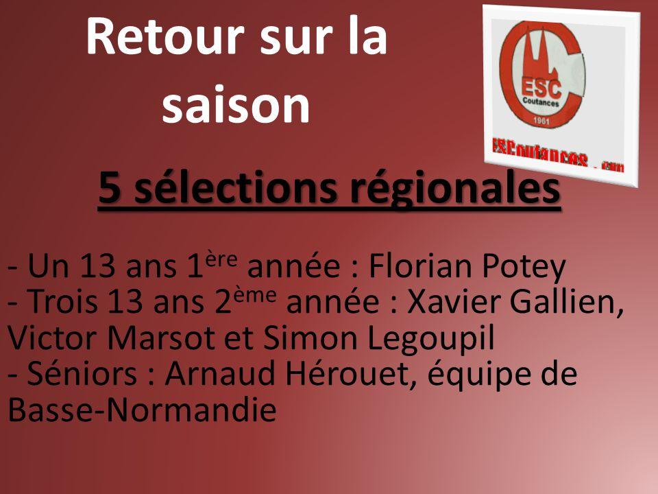 5 sélections régionales - Un 13 ans 1 ère année : Florian Potey - Trois 13 ans 2 ème année : Xavier Gallien, Victor Marsot et Simon Legoupil - Séniors