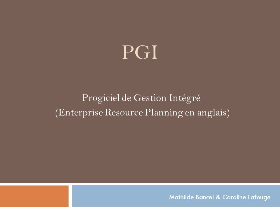 PGI Progiciel de Gestion Intégré (Enterprise Resource Planning en anglais) Mathilde Bancel & Caroline Lafouge