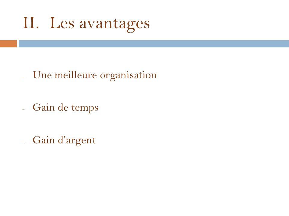 II.Les avantages - Une meilleure organisation - Gain de temps - Gain d'argent