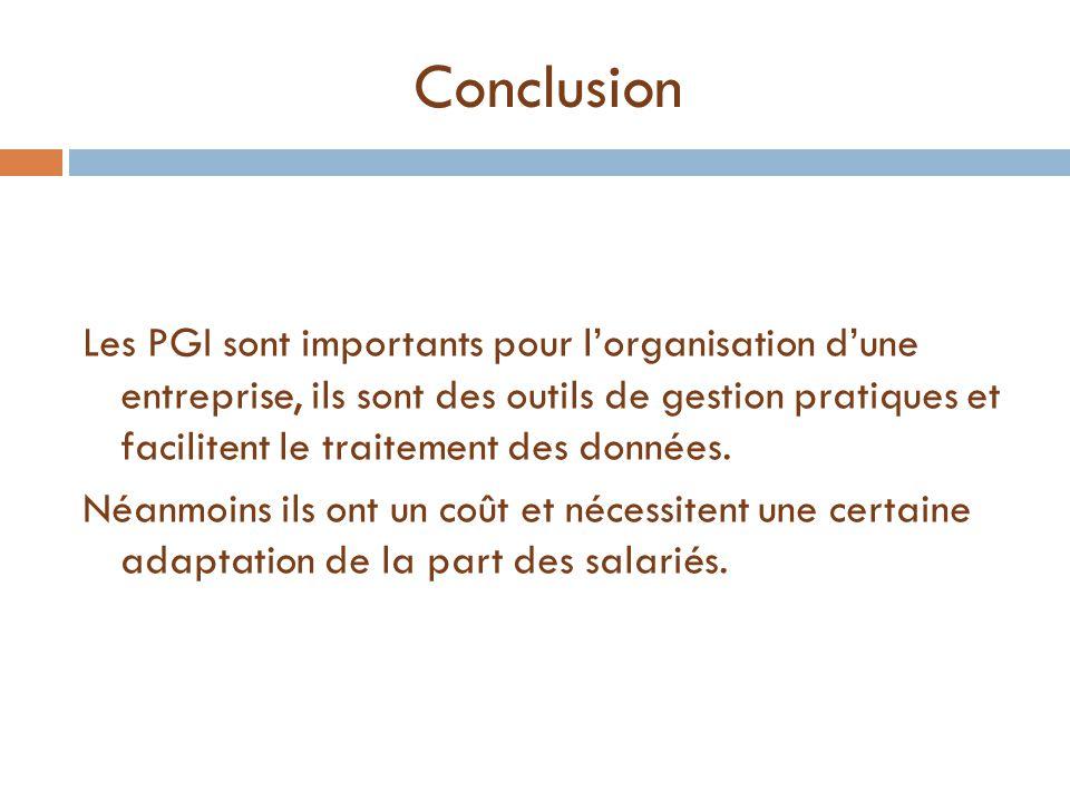 Conclusion Les PGI sont importants pour l'organisation d'une entreprise, ils sont des outils de gestion pratiques et facilitent le traitement des donn