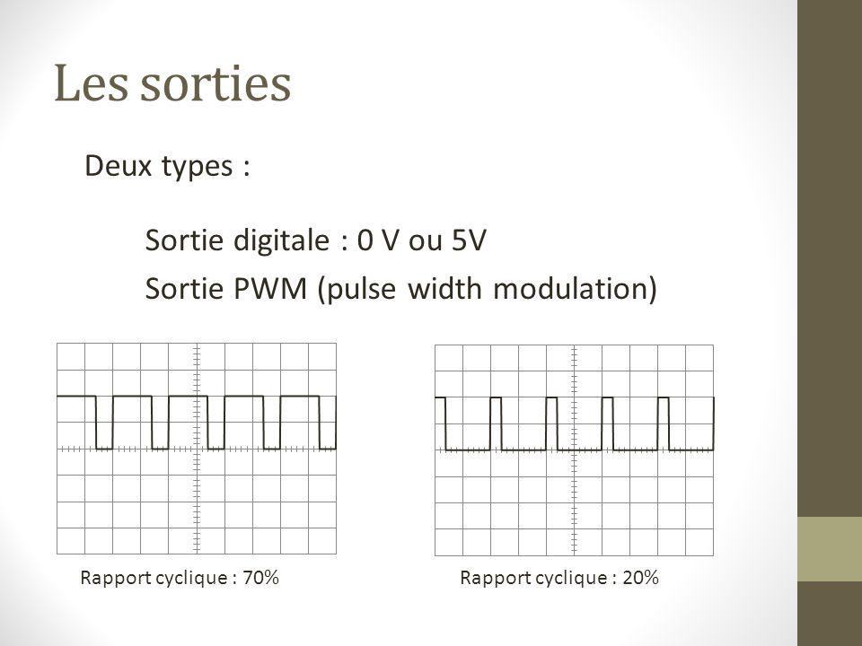 Les sorties Deux types : Sortie digitale : 0 V ou 5V Sortie PWM (pulse width modulation) Rapport cyclique : 70%Rapport cyclique : 20%