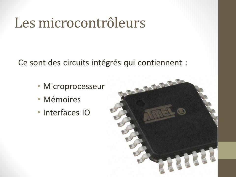 Les microcontrôleurs Microprocesseur Mémoires Interfaces IO Ce sont des circuits intégrés qui contiennent :