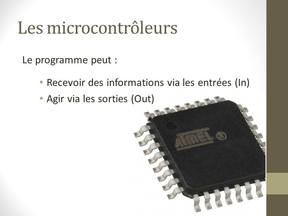 Les microcontrôleurs Recevoir des informations via les entrées (In) Agir via les sorties (Out) Le programme peut :