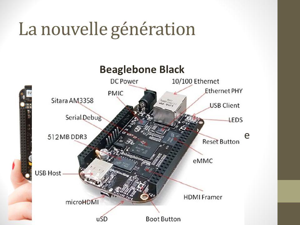 La nouvelle génération Beaglebone Black Processeur : 1 GHz OS : Linux Carte graphique intégrée 2Go flash intégrée Beaucoup de GPIO Pour seulement : 45