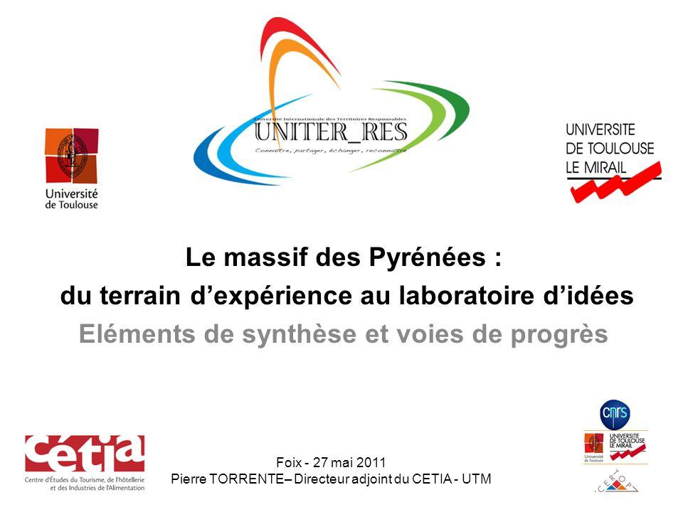 Le massif des Pyrénées : du terrain d'expérience au laboratoire d'idées Eléments de synthèse et voies de progrès Foix - 27 mai 2011 Pierre TORRENTE– Directeur adjoint du CETIA - UTM