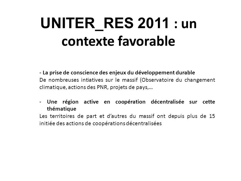 UNITER_RES 2011 : un contexte favorable - La prise de conscience des enjeux du développement durable De nombreuses intiatives sur le massif (Observato