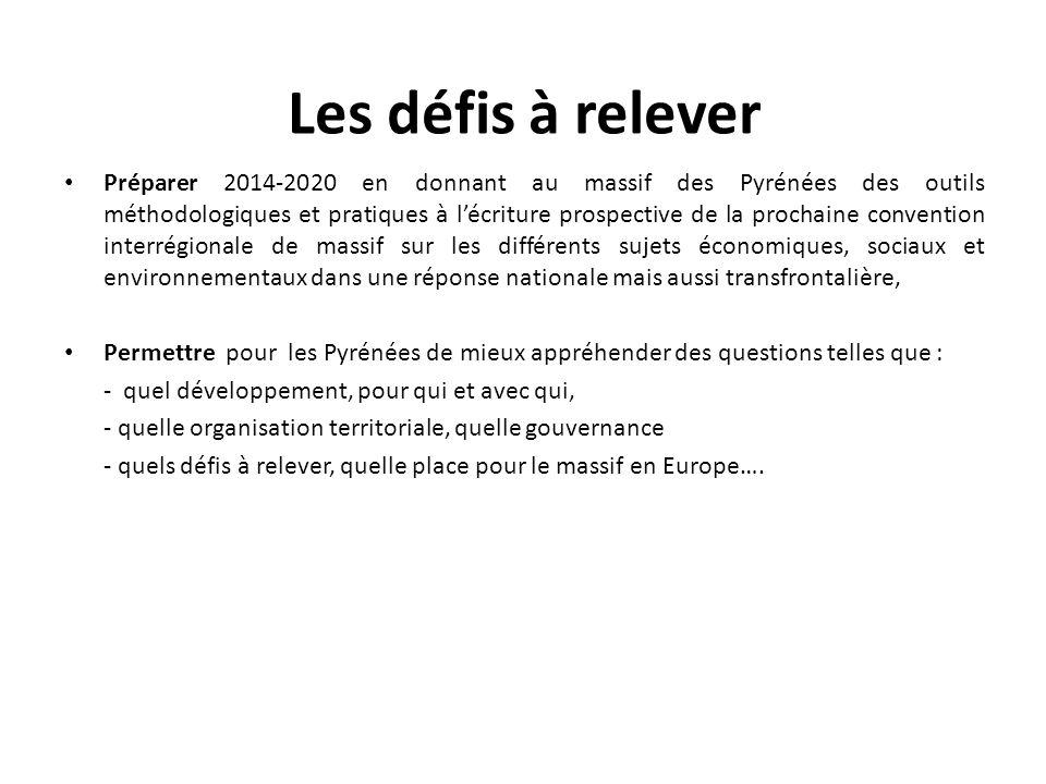 Les défis à relever Préparer 2014-2020 en donnant au massif des Pyrénées des outils méthodologiques et pratiques à l'écriture prospective de la procha