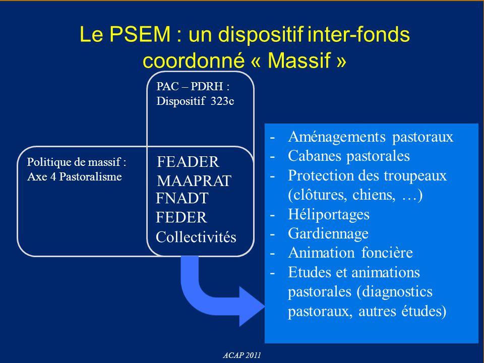 Le PSEM : un dispositif inter-fonds coordonné « Massif » ACAP 2011 PAC – PDRH : Dispositif 323c FEADER MAAPRAT Politique de massif : Axe 4 Pastoralism