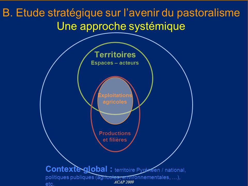 B. Etude stratégique sur l'avenir du pastoralisme Une approche systémique ACAP 2009 Territoires Espaces – acteurs Exploitations agricoles Productions