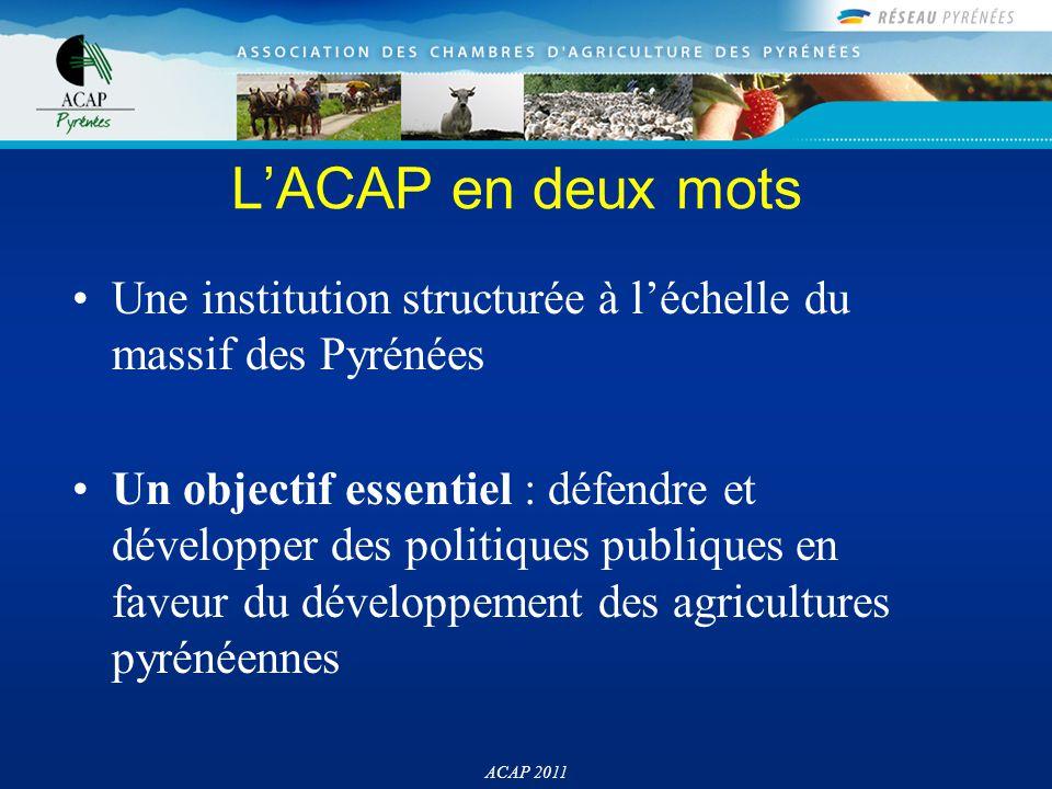 Principales mission de l'ACAP Etudes / prospective Capitalisation, échange d'expériences Décisions politiques / Lobbying Coordination de projets ACAP 2011