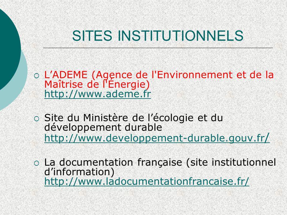 SITES INSTITUTIONNELS  Statistiques énergie http://www.statistiques.developpement- durable.gouv.fr/theme/energie- climat/966.html http://www.statistiques.developpement- durable.gouv.fr/theme/energie- climat/966.html  Ministère de l'éducation nationale – Enseignement supérieur http://www.science.gouv.fr http://www.science.gouv.fr  Réseau canadien des énergies renouvelables http://www.canren.gc.ca/default_fr.asp http://www.canren.gc.ca/default_fr.asp