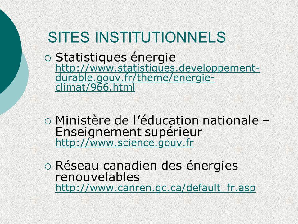 SITES INSTITUTIONNELS  Cours de Formation Retscreen http://www.retscreen.net/fr/d_t_info.php http://www.retscreen.net/fr/d_t_info.php  Arene ile de France http://www.areneidf.org/fr/Energie-71.html http://www.areneidf.org/fr/Energie-71.html
