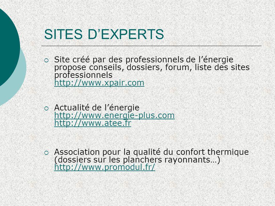 SITES D'EXPERTS  Site créé par des professionnels de l'énergie propose conseils, dossiers, forum, liste des sites professionnels http://www.xpair.com