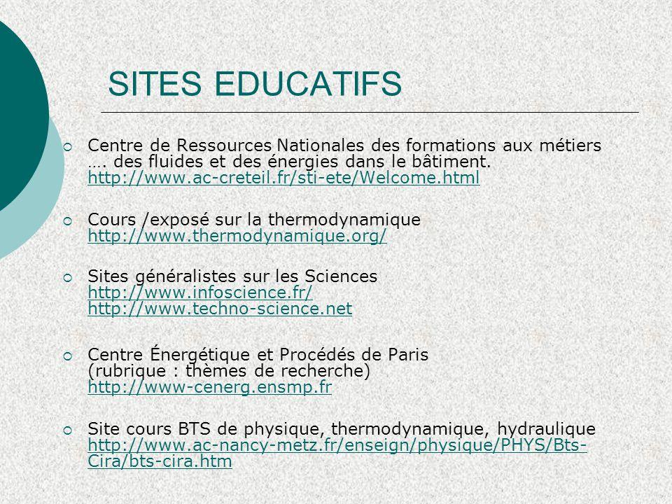 SITES EDUCATIFS  Centre de Ressources Nationales des formations aux métiers …. des fluides et des énergies dans le bâtiment. http://www.ac-creteil.fr