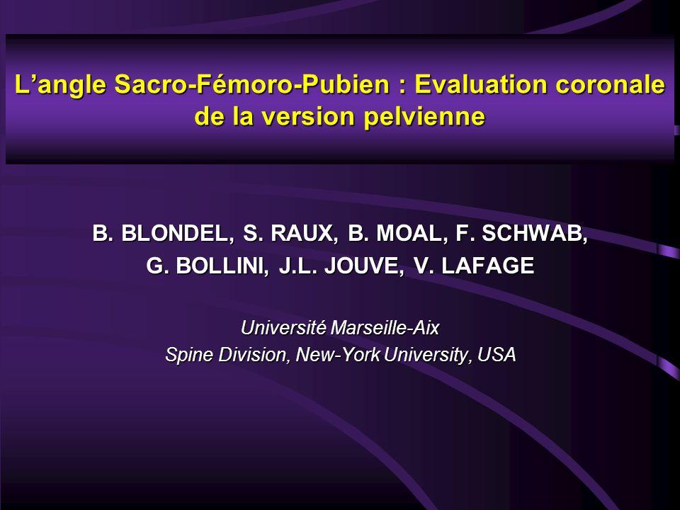 L'angle Sacro-Fémoro-Pubien : Evaluation coronale de la version pelvienne B. BLONDEL, S. RAUX, B. MOAL, F. SCHWAB, G. BOLLINI, J.L. JOUVE, V. LAFAGE U