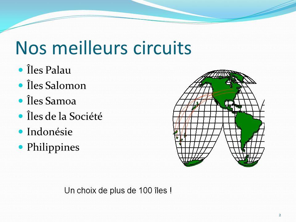 Nos meilleurs circuits Îles Palau Îles Salomon Îles Samoa Îles de la Société Indonésie Philippines 2 Un choix de plus de 100 îles !