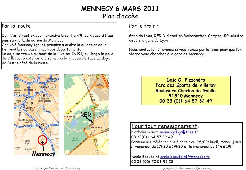 MENNECY 6 MARS 2011 Plan d'accès RER Mennecy Par la route : Sur l'A6, direction Lyon, prendre la sortie n°9 au niveau d'Ikea, puis suivre la direction