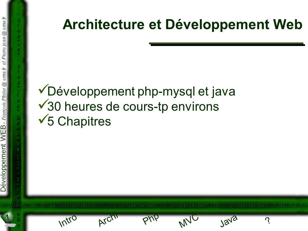 1 Développement WEB - François.Pfister @ ema.fr et Pierre.jean @ ema.fr Intro Archi Php Java ? MVC Architecture et Développement Web Développement php