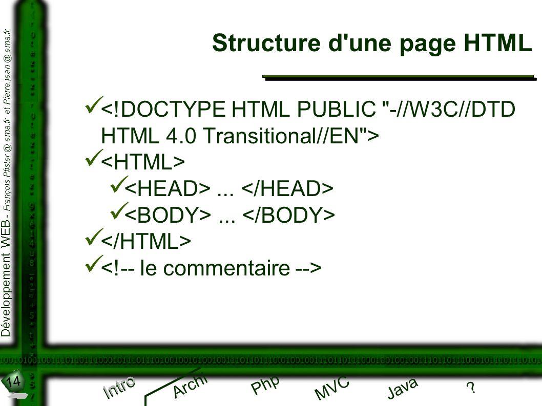 14 Développement WEB - François.Pfister @ ema.fr et Pierre.jean @ ema.fr Intro Archi Php Java ? MVC Structure d'une page HTML Intro...